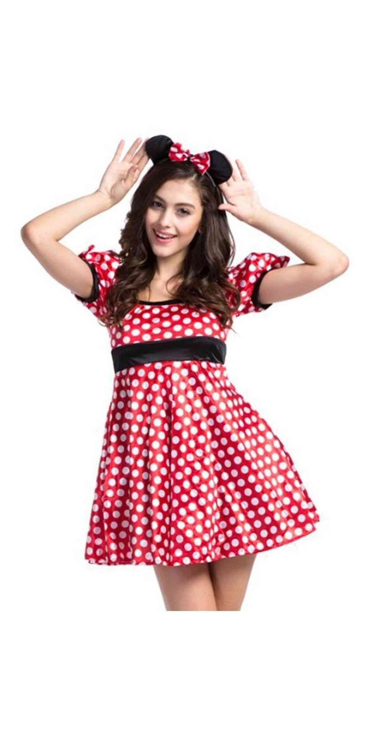 Woman in Minnie Mouse Party Costume