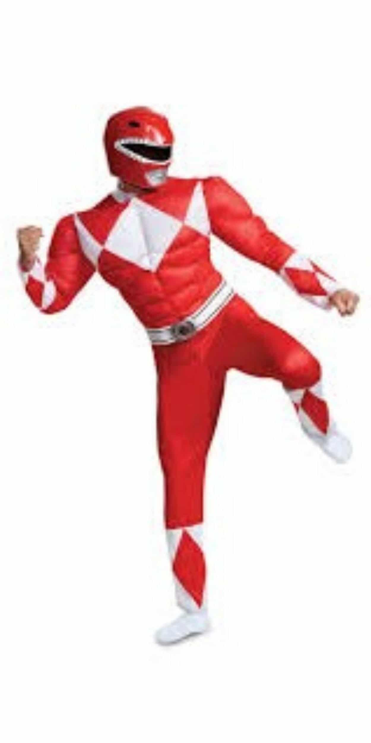 Man in Power Ranger Party Costume