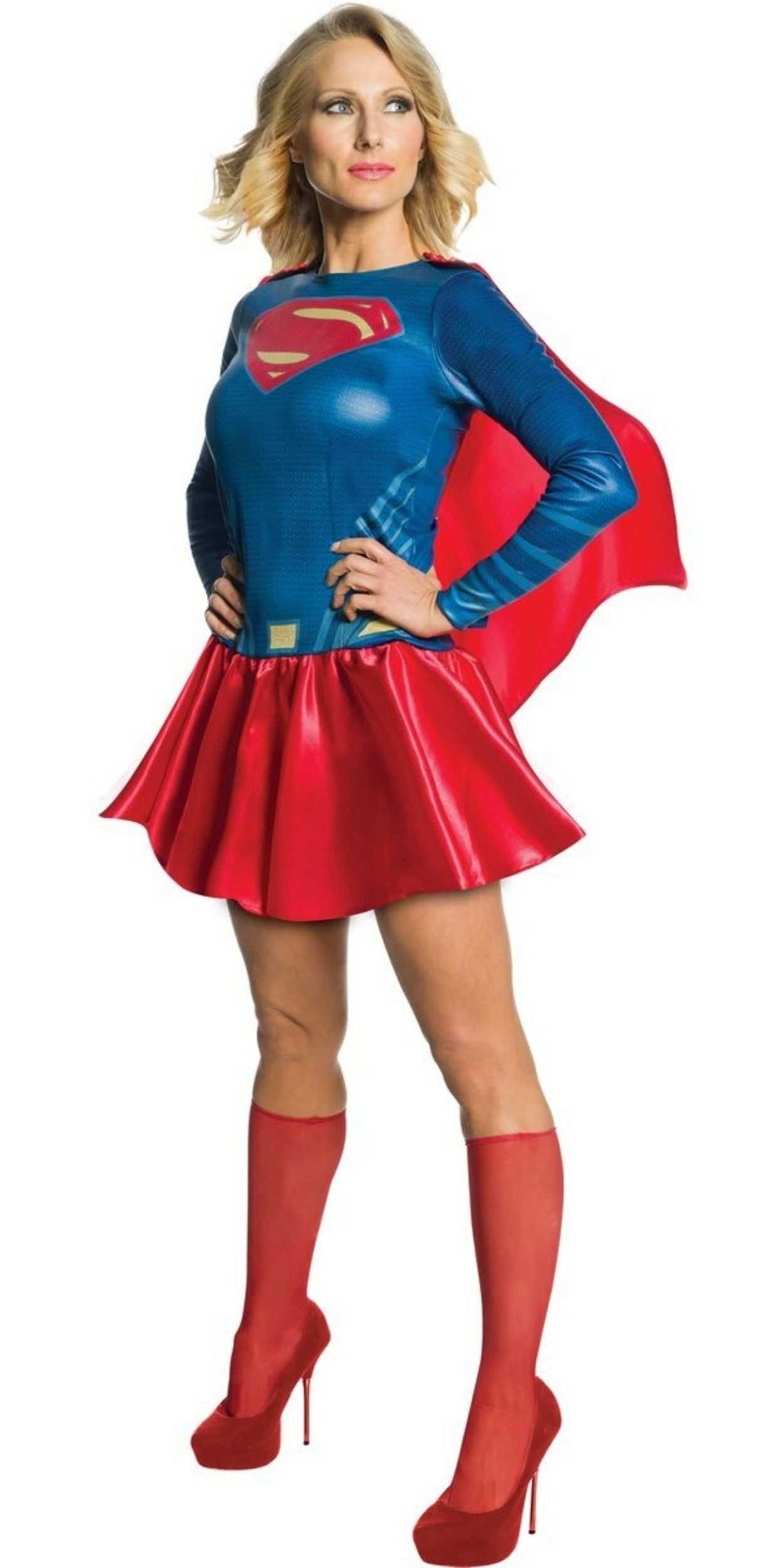 Woman in Supergirl Party Costume